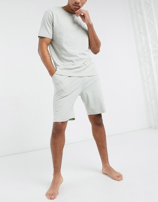 ASOS DESIGN lounge t-shirt and short pyjama set in light grey