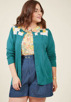 MCS1088B It's simple to practice the importance of being present with this teal cardigan from our ModCloth namesake label. With a petal, white, and marigold square motif detailing its yoke and slightly puffed shoulders, this button-front sweater packs every