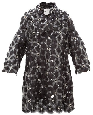 Noir Kei Ninomiya Tulle-embroidered Evening Coat - Black