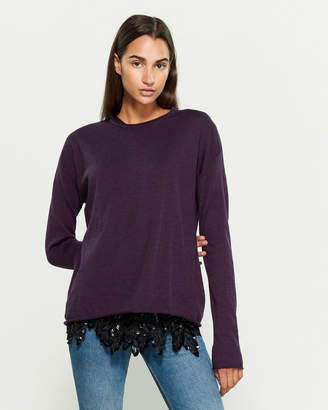 P.A.R.O.S.H. Two-Piece Long Sleeve Sweater & Beaded Sheer Top Set