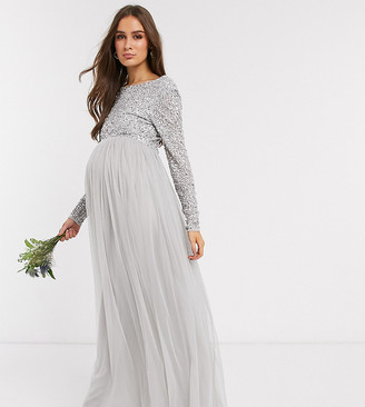 Maya Maternity Bridesmaid long sleeve maxi tulle dress with tonal delicate sequin overlay in silver