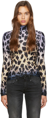 R 13 Black and Off-White Faded Leopard Turtleneck
