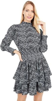 La Vie Rebecca Taylor Mini Tiger Long Sleeve Dress (Mineral Blue Combo) Women's Clothing