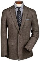 Charles Tyrwhitt Slim Fit Light Brown Lambswool Hopsack Wool Jacket Size 44