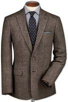 Charles Tyrwhitt Slim Fit Light Brown Lambswool Hopsack Wool Jacket Size 48