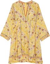 Isabel Marant Thurman embroidered printed silk-satin mini dress