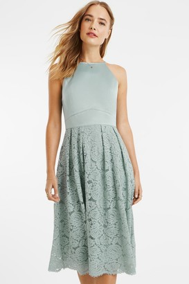 Oasis Pale Green Satin Bodice Lace Midi Dress
