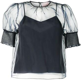 Cinq à Sept Eleni mesh overlay blouse