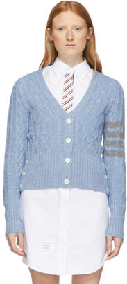 Thom Browne Blue Cashmere Cable 4-Bar Cardigan