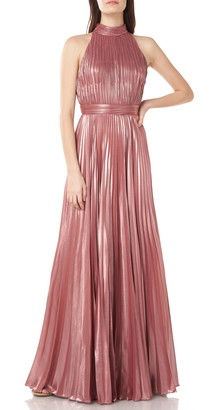 Theia Halter Neck Plisse Metallic Gown