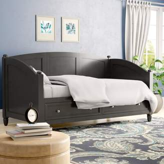 Three Posts Cusick Twin Daybed Color: Black, Accessories: Storage