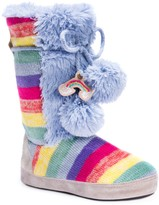 Muk Luks Jewel Faux Fur & Colorblock Knit Slipper Boot