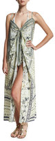 Camilla Embellished Crepe Tie-Front Maxi Coverup, Handiras Hold