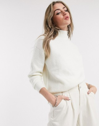 Bershka roll neck jumper in white