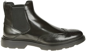Hogan Brogue Detail Ankle Boots