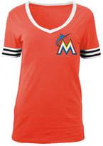 5th & Ocean Women's Miami Marlins Retro V-Neck T-Shirt