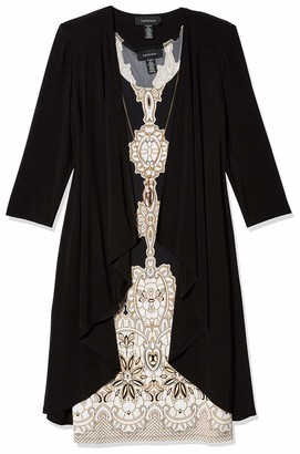 R & M Richards R&M Richards Women's Two Piece Printed Jersey Dress and Solid Color Jacket Black/Taupe 12