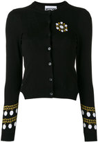 Moschino pearl and chain intarsia cardigan