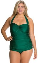 Esther Williams Plus Size Solid Classic Sheath One Piece Swimsuit 8117781