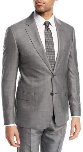 Emporio Armani Woven Two-Piece Wool-Silk Suit, Light Gray