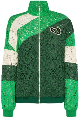 Gucci panelled lace logo patch track jacket