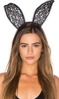 Fleur Du Mal Lace Bunny Ears in Black.