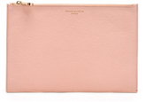 Aspinal of London Women's Essential Flat Embossed Flower Large Pouch Peach