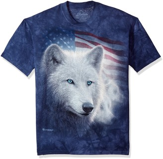 The Mountain Patriotic White Wolf Adult T-Shirt