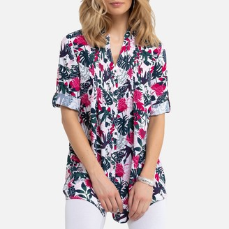 Anne Weyburn Floral Grandad-Collar Tunic with 3/4 Length Sleeves