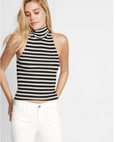 Express one eleven striped turtleneck tank