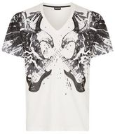 Just Cavalli V-neck Eagle And Guitar Print T-shirt