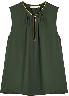 Tory Burch Dark green embellished top