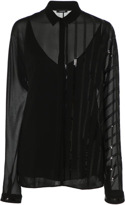 Akris Sequined-Embellished Silk-Georgette Blouse