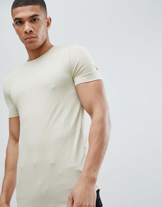 BEIGE Asos Design ASOS DESIGN muscle fit longline rib t-shirt and curved hem in