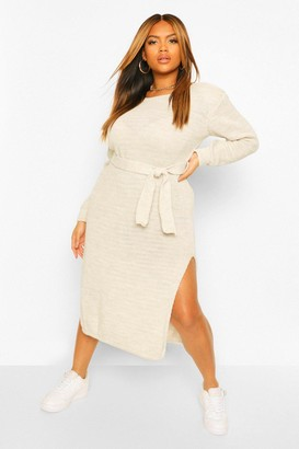 boohoo Plus Shoulderpad Knitted Jumper Dress