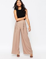 Love Wide Leg Pants With Lace Up Detail