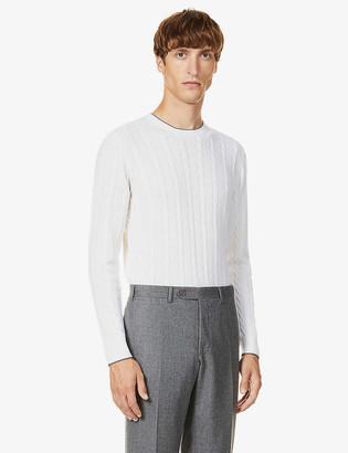 Eleventy Cable-knit crewneck wool jumper