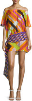 Emilio Pucci Parioli-Print Off-the-Shoulder Belted Coverup Tunic, Orange/Pink/Green