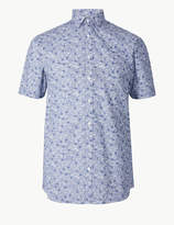 M&S CollectionMarks and Spencer Cotton Blend Slim Fit Printed Shirt