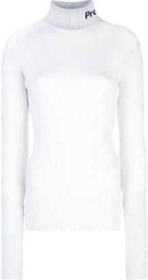 Proenza Schouler White Label PSWL Logo Knit Long SleeveTurtleneck Top