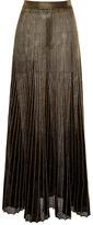 Proenza Schouler Gold Metallic Sunburst Rib Long Skirt