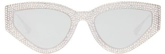 Christian Dior Catstyledior1s Crystal-studded Cat-eye Sunglasses - Silver