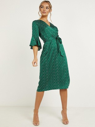 Quiz Satin Long Sleeve MidiDress - Green