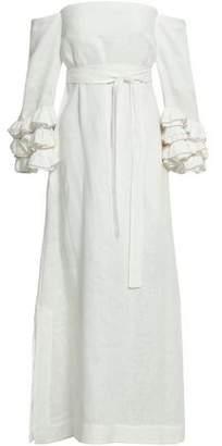 Lisa Marie Fernandez Off-the-shoulder Linen Maxi Dress