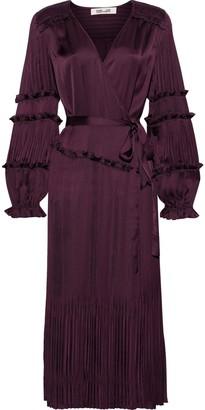 Diane von Furstenberg Keira Satin-paneled Plisse Crepe De Chine Wrap Dress