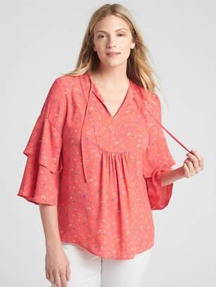 Gap Maternity Print Ruffle Sleeve Split-Neck Blouse