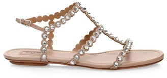 Aquazzura Tequila Crystal-Embellished Leather Flat Sandals