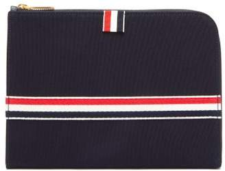 Thom Browne Tri Colour Striped Canvas Pouch - Mens - Navy