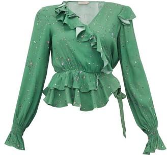 Preen Line Paloma Floral-print Crepe Wrap Top - Green Multi