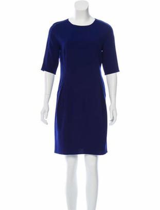 Oscar de la Renta Wool Sheath Dress Blue